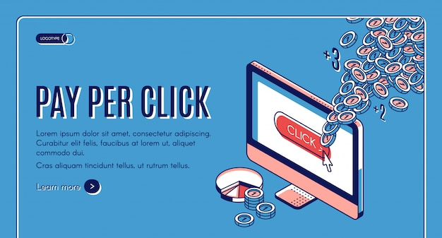 Baner Izometryczny Pay Per Click Darmowych Wektorów