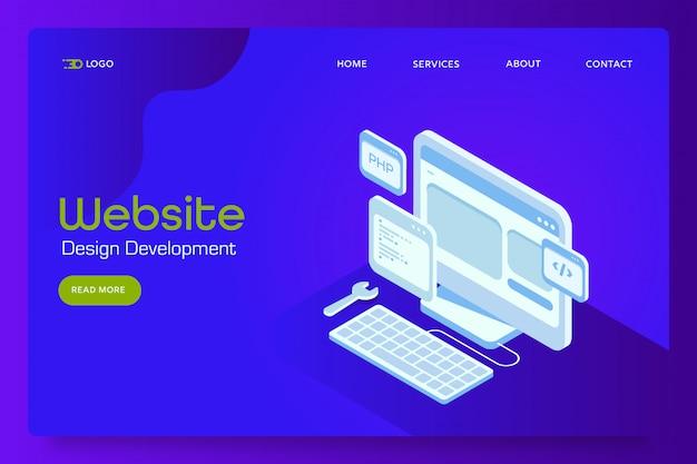 Baner Izometryczny Rozwoju Strony Internetowej Premium Wektorów