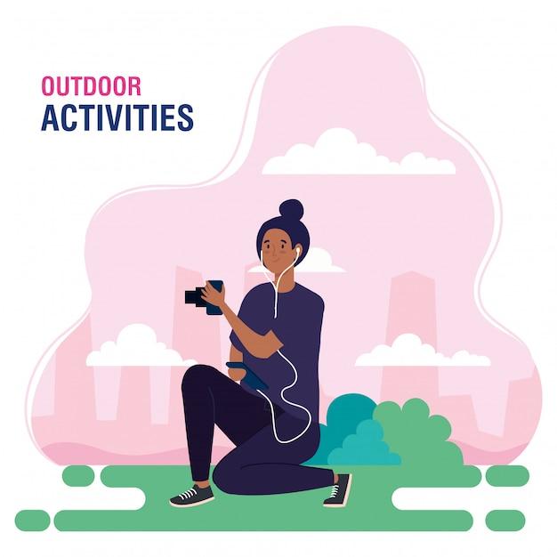 Baner, Kobieta Wykonująca Wypoczynek Na świeżym Powietrzu, Fotograf Kobieta Wykonująca Projekt Ilustracji Fotografii Premium Wektorów