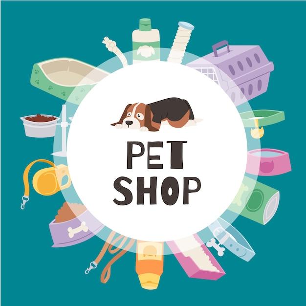 Baner Koła Petshop Zawiera Uroczego Szczeniaka, Klatkę Dla Kotów I Psów, Zabawki, Karmę Dla Zwierząt Domowych, Ilustracje Misek. Premium Wektorów