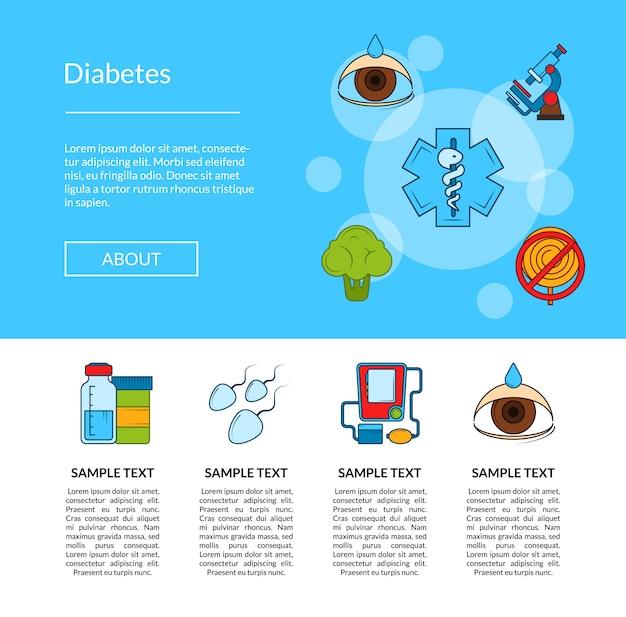 Baner kolorowy ikony cukrzycy Premium Wektorów