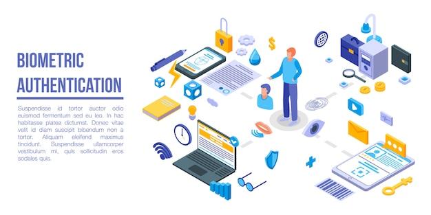 Baner Koncepcja Uwierzytelniania Biometrycznego, Styl Izometryczny Premium Wektorów