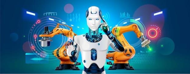 Baner koncepcji przemysłu 4.0. robot ze sterowaniem ai w inteligentnej fabryce Premium Wektorów