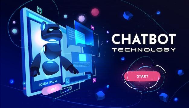 Baner kreskówka usługi technologii chatbot Darmowych Wektorów