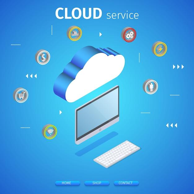 Baner kwadratowy usługi w chmurze. technologia obliczeniowa. Premium Wektorów