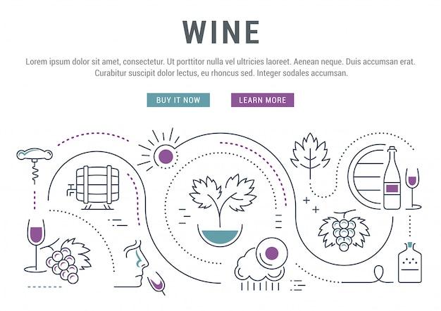 Baner Liniowy Wina Premium Wektorów