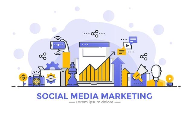 Baner Marketingowy W Mediach Społecznościowych Premium Wektorów