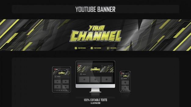 Baner Na Kanale Youtube Z Koncepcją Dla Graczy Premium Wektorów