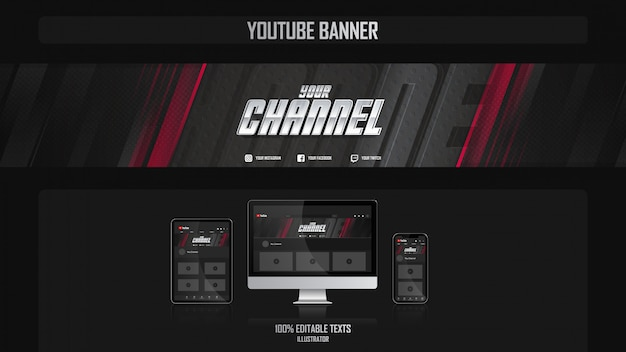 Baner Na Kanale Youtube Z Koncepcją Gamer Premium Wektorów