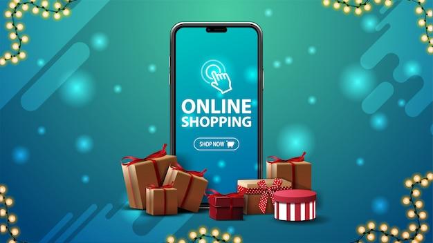Baner Na Zakupy Online Z Dużym Smartfonem Z Pudełkami Na Niebieskim Tle Premium Wektorów