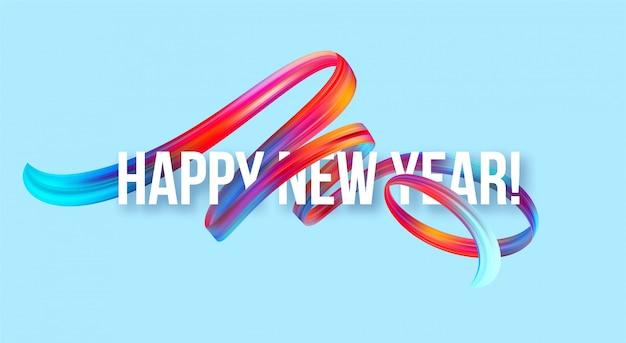 Baner Noworoczny 2019 Z Kolorowym Pędzlem Lub Farbą Akrylową Premium Wektorów