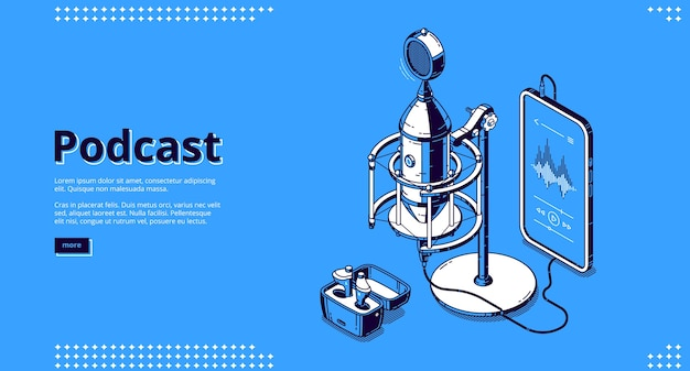 Baner Podcastowy. Nagraj Audycję Radiową, Wywiad Audio, Rozmowę Na żywo. Strona Docelowa Biznesu Podcastowego Z Izometrycznym Sprzętem Medialnym, Mikrofonem, Smartfonem I Głośnikami Darmowych Wektorów