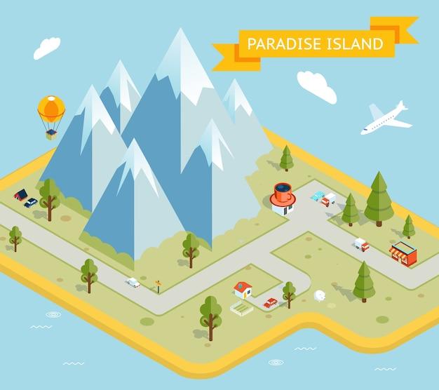 Baner Podróżny. Izometryczna Płaska Mapa Wyspy Paradise. Przyroda I Wakacje, Morze I Wyspa. Ilustracji Wektorowych Darmowych Wektorów