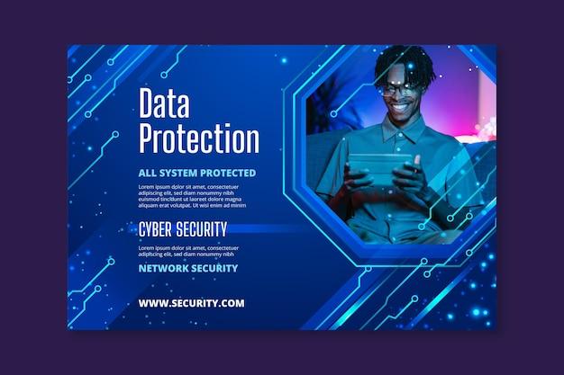 Baner Poziomy Bezpieczeństwa Cybernetycznego Darmowych Wektorów