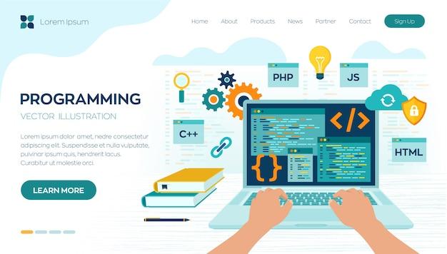 Baner Programistyczny, Kodowanie, Najlepsze Języki Programowania. Koncepcja Rozwoju I Oprogramowania. Premium Wektorów