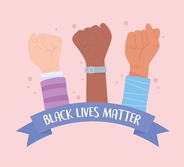 Baner Protestu Przeciwko Czarnemu życiu, Solidarność Z Podniesionymi Rękami, Kampania Uświadamiająca Przeciwko Dyskryminacji Rasowej Premium Wektorów