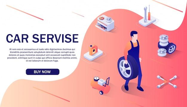 Baner reklamowy dla serwisu samochodowego i sklepu internetowego. Premium Wektorów