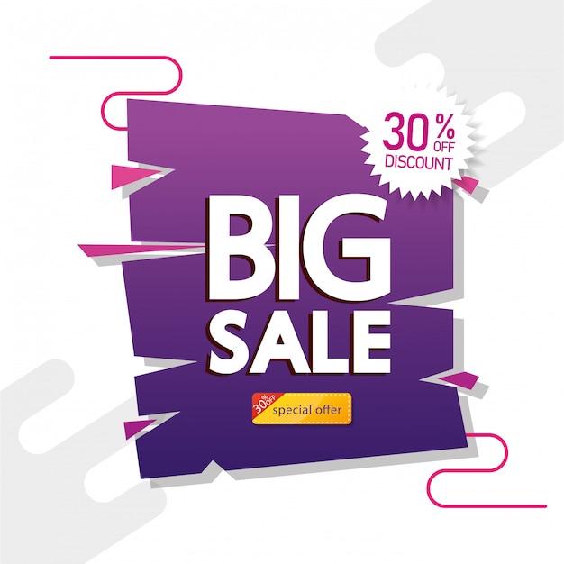 Baner reklamowy z dużym napisem oferty sprzedaży i trzydziestoprocentową zniżką Darmowych Wektorów