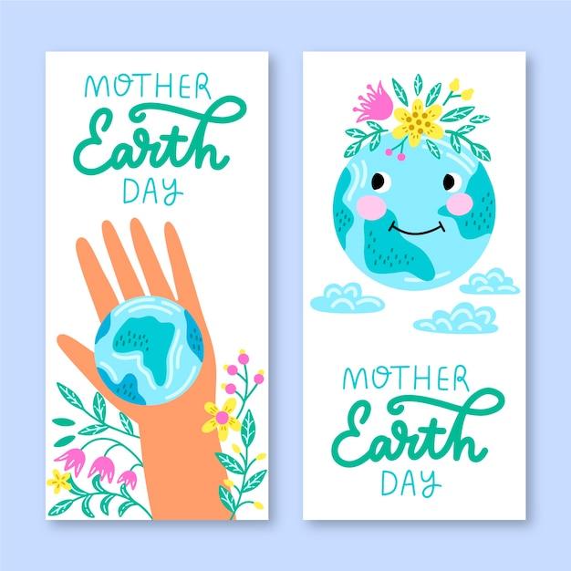 Baner Rysowane Ręcznie Matki Dzień Ziemi Darmowych Wektorów