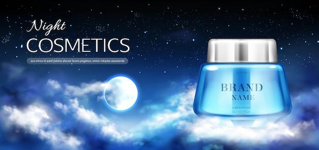 Baner słoik nocnych kosmetyków Darmowych Wektorów