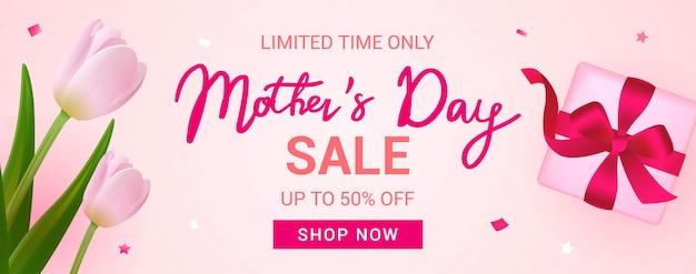 Baner sprzedaży dnia matki Premium Wektorów