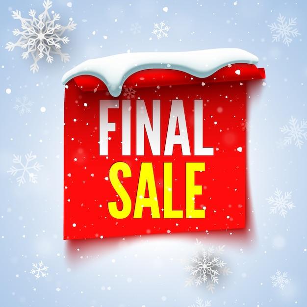 Baner Sprzedaży Końcowej Z Czerwoną Wstążką, Czapką śnieżną I Płatkami śniegu. Premium Wektorów
