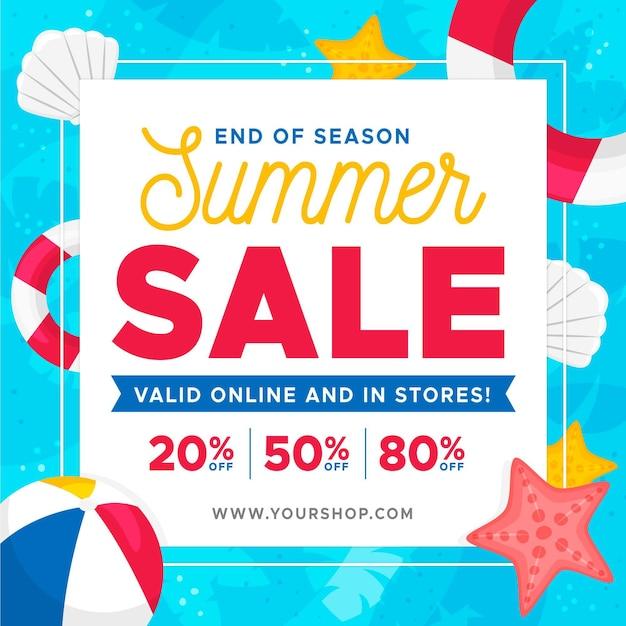 Baner Sprzedaży Letniej Na Koniec Sezonu Z Elementami Plaży Darmowych Wektorów