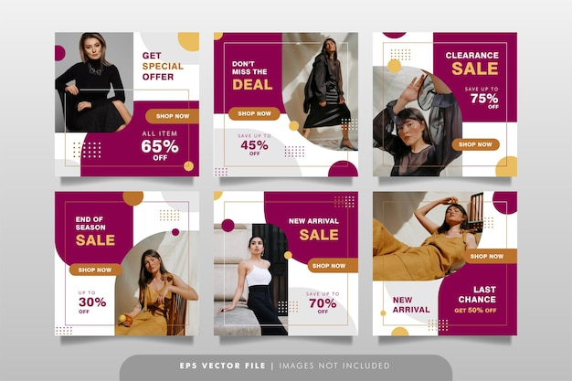 Baner Sprzedaży Mody Lub Post W Mediach Społecznościowych Premium Wektorów