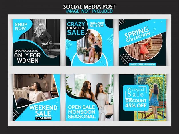 Baner sprzedaży mody ustawiony na post w mediach społecznościowych Premium Wektorów