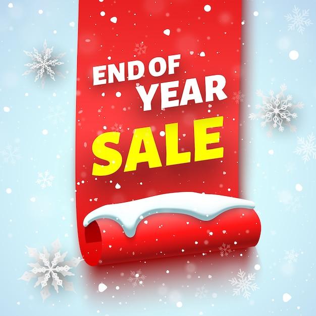 Baner Sprzedaży Na Koniec Roku Z Czerwoną Wstążką, Czapką śnieżną I Płatkami śniegu. Premium Wektorów