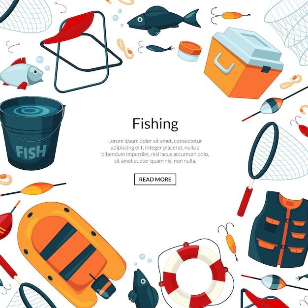 Baner Sprzętu Rybackiego Premium Wektorów