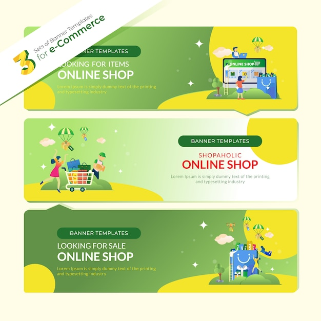 Baner strony docelowej dla e-commerce w 3 zestawach pakietów Premium Wektorów