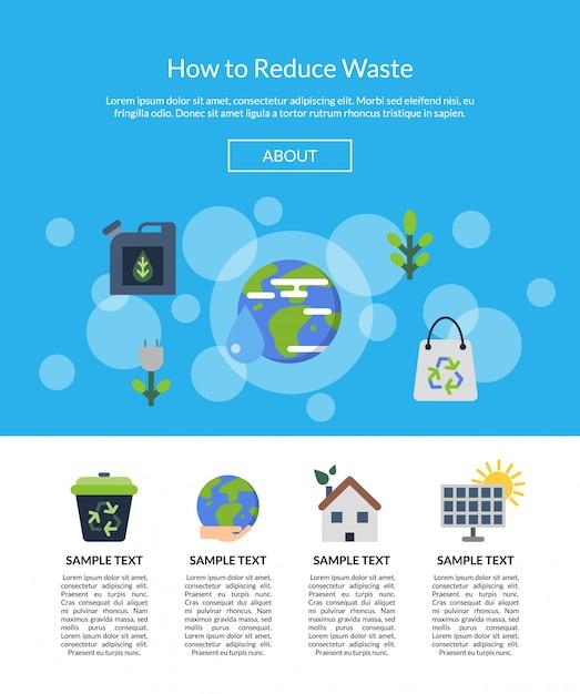 Baner strony docelowej z płaskich ikon ekologii Premium Wektorów
