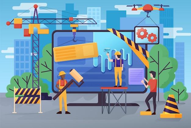 Baner Strony W Budowie, Ekran Monitora Błędów Strony Konserwacji, Konstruktorzy, Inżynierowie Premium Wektorów