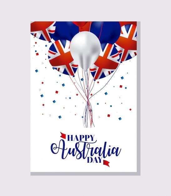 Baner szczęśliwy dzień australii z flagami na balonów Darmowych Wektorów