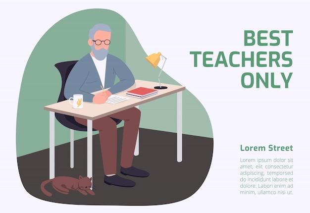 Baner Tylko Dla Najlepszych Nauczycieli Premium Wektorów