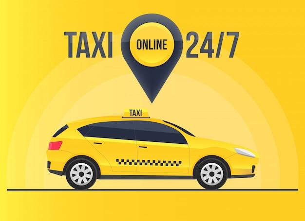 Baner usługi taxi online, wieżowce miejskie Premium Wektorów