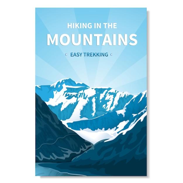 Baner wędrówki po górach Premium Wektorów