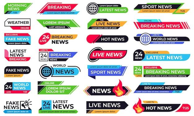 Baner Wiadomości. łamanie Nagłówka, 24 Wiadomości Na żywo I Szablony Banerów Sportowych. Zbieranie Niższych Części Lub Nakładek Graficznych Do Programów Telewizyjnych, Mediów Internetowych, Transmisji Online. Premium Wektorów