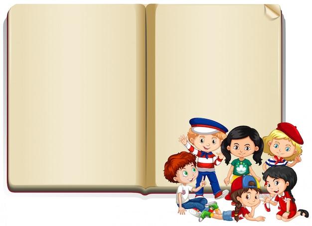 Baner z dziećmi i książką Darmowych Wektorów