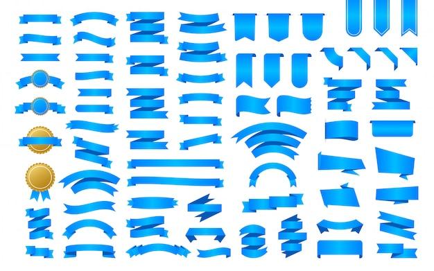 Baner Z Niebieską Wstążką. Wstążki, świetny Design Do Wszelkich Celów. Wstążka Royal. Element Dekoracyjny. Zestaw Medali Szablon Promocji Banner Zniżki. Naklejka Ze Zniżką. Ilustracji. Premium Wektorów