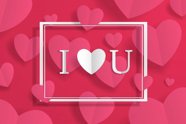 Baner Z Ramą I Kocham Cię Znak, Serce Papieru Origami I Napis Na Tle. Na Reklamę, Prezent, Kartkę Z życzeniami, Ulotki, Tapetę Premium Wektorów