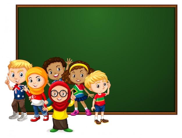 Baner z wieloma dziećmi przy tablicy Darmowych Wektorów