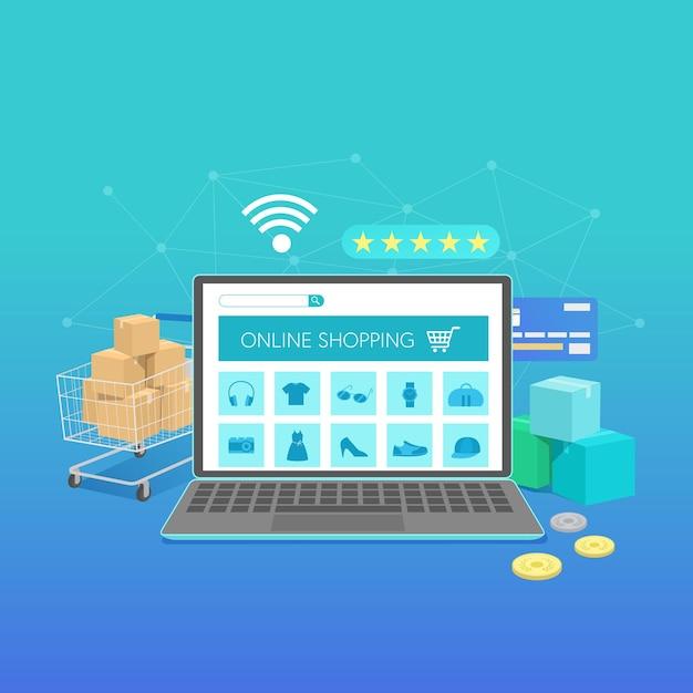 Baner Zakupów Online Z Laptopem, Koncepcja Płaska Konstrukcja Darmowych Wektorów