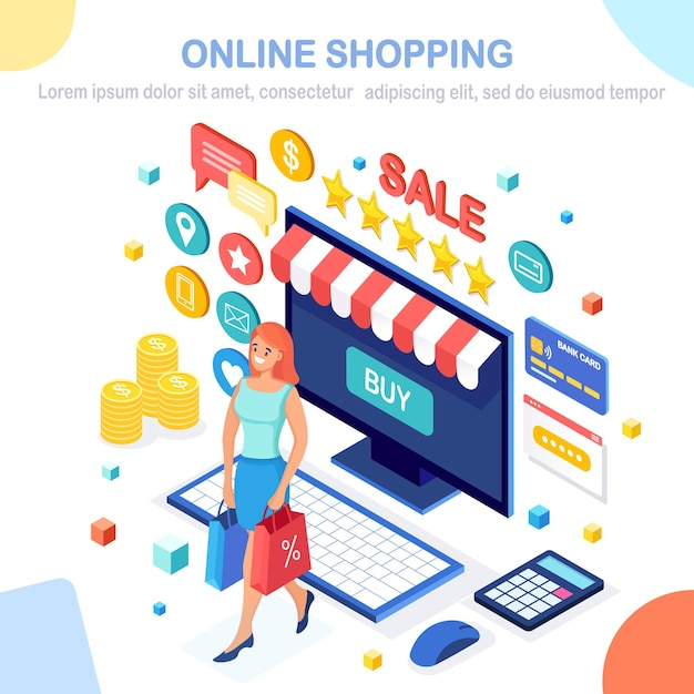 Baner Zakupów Online Premium Wektorów