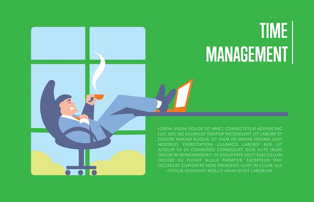 Baner zarządzania czasem z biznesmenem Premium Wektorów