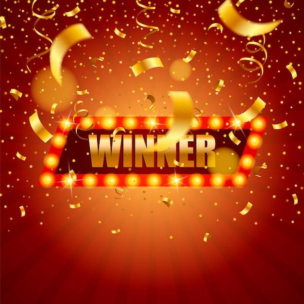 Baner Zwycięzcy, Zwycięzca Spadających Wstążek. Premium Wektorów