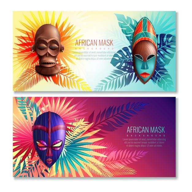 Banery afrykańskie maski etniczne Darmowych Wektorów
