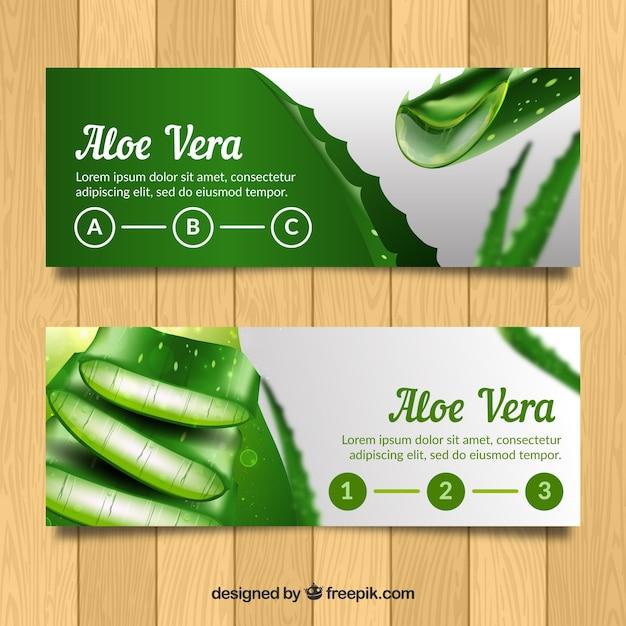 Banery Aloe Vera W Realistycznym Stylu Darmowych Wektorów