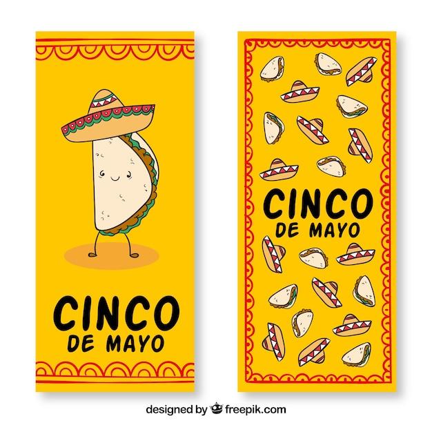 Banery Cinco De Mayo Z Kapeluszem I Tradycyjne Meksykańskie Jedzenie Darmowych Wektorów